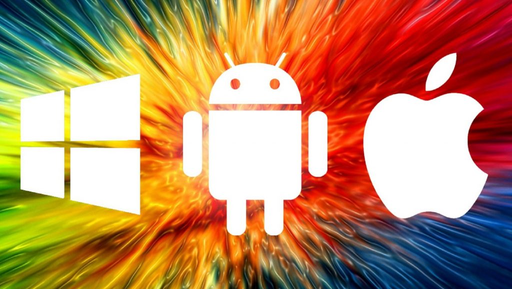 Logos de Windows, Android y Apple sobre fondo con rayas de colores