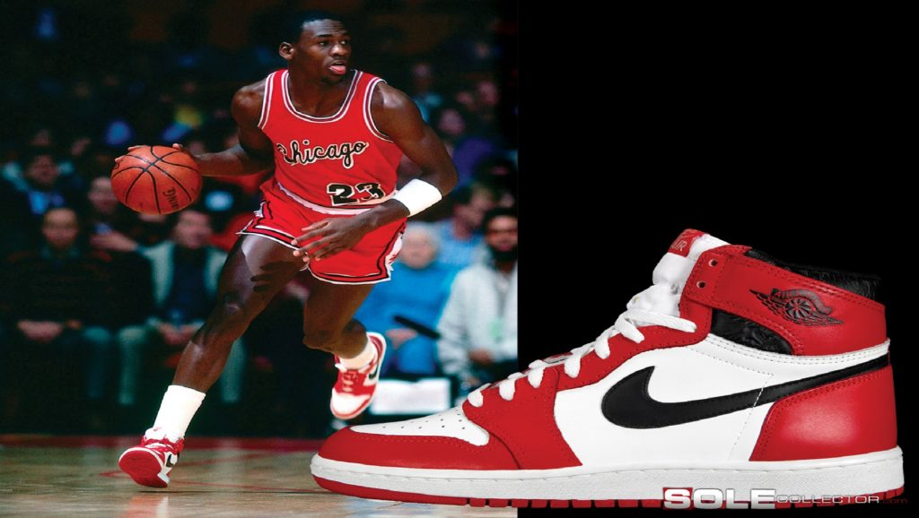 Michael Jordan con zapatillas Air Jordan