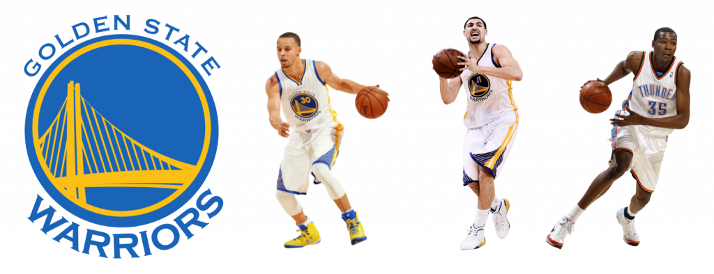 Estrellas de Golden State Warriors: Curry, Thompson y Durant