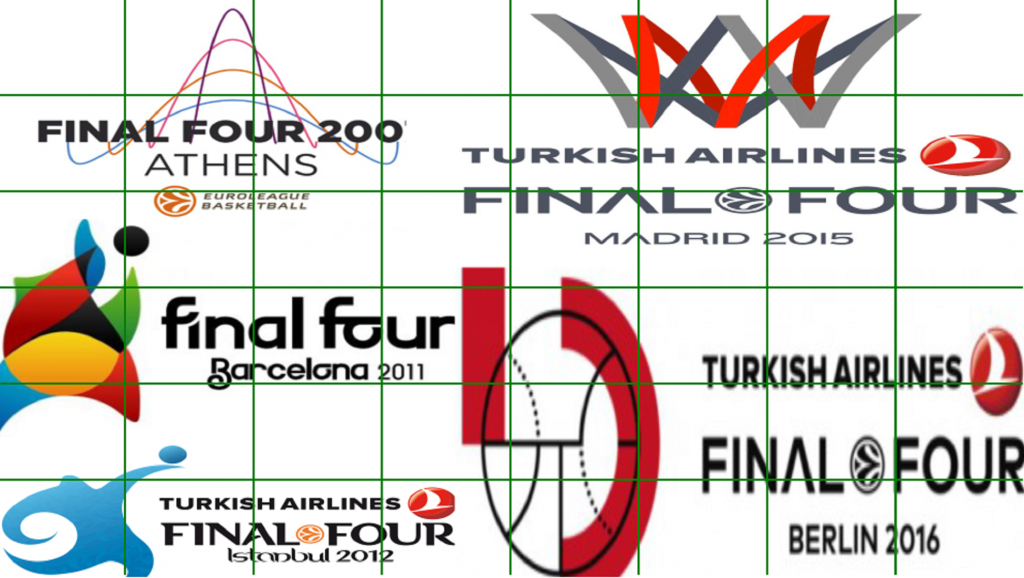 Collage de carteles de la Final Four de la Euroliga de Baloncesto