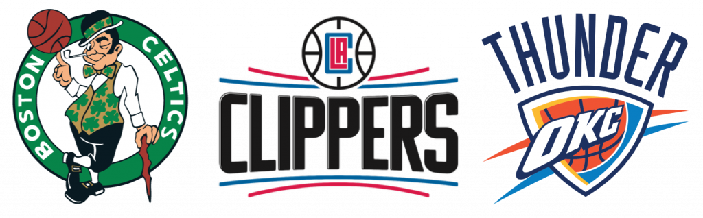 Escudos de Boston Celtics, Los Angeles Clippers y Oklahoma City Thunder