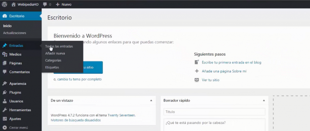 Entradas y páginas en WordPress