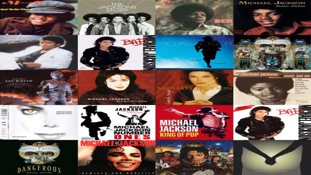 Collage con álbumes de Michael Jackson