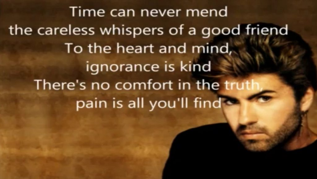 "George Michael con letra de canción ""Careless Whisper"""