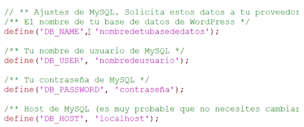 Configuración de base de datos de WordPress