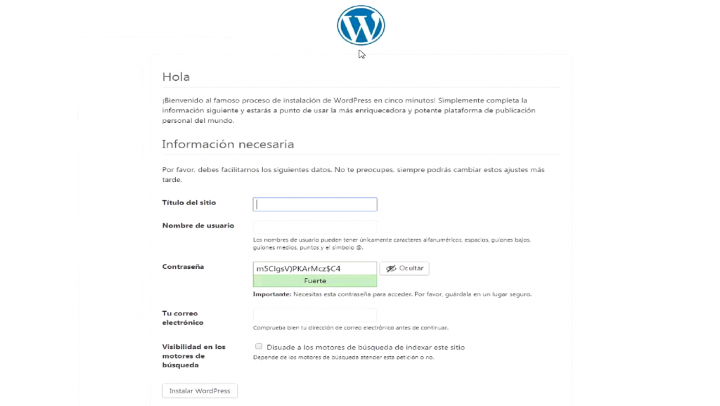 Configurar sitio WordPress