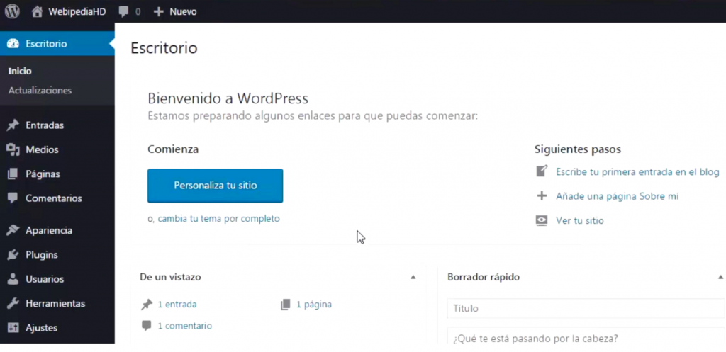 Panel de trabajo de WordPress