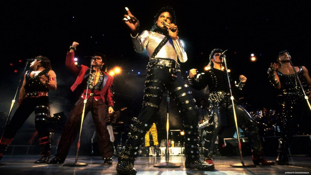 "Michael Jackson durante la gira ""Bad World Tour"""