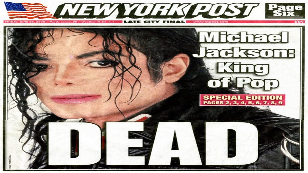 Portada del New York Post con muerte de Michael Jackson