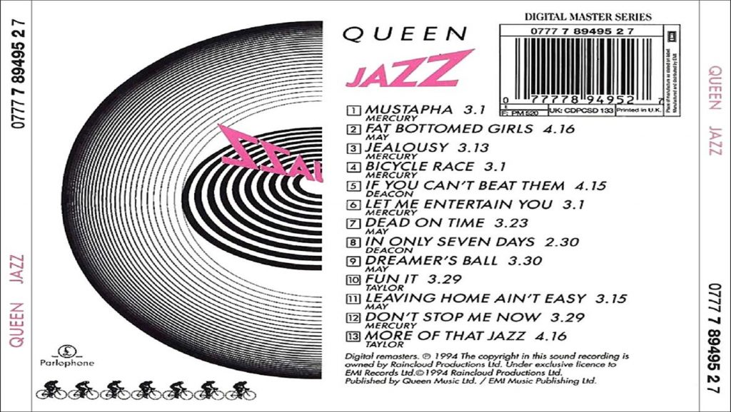 "Parte trasera del disco ""Jazz"" de Queen"