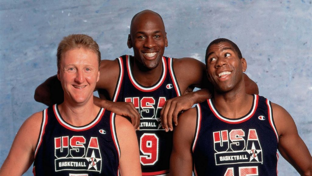 Larry Bird, Michael Jordan y Magic Johnson con USA