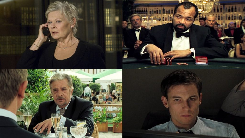 Judi Dench, Jeffrey Wright, Giancarlo Giannini y Tobias Menzies en Casino Royale