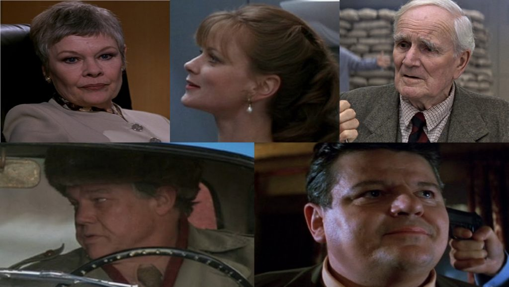 Judi Dench, Samantha Bond, Desmond Llewelyn, Joe Don Baker y Robbie Coltrane en Goldeneye