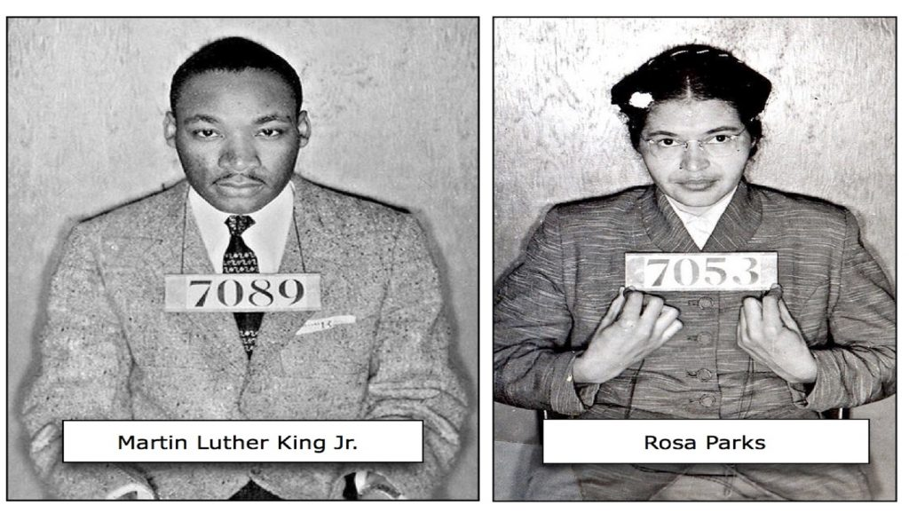 Martin Luther King y Rosa Parks detenidos