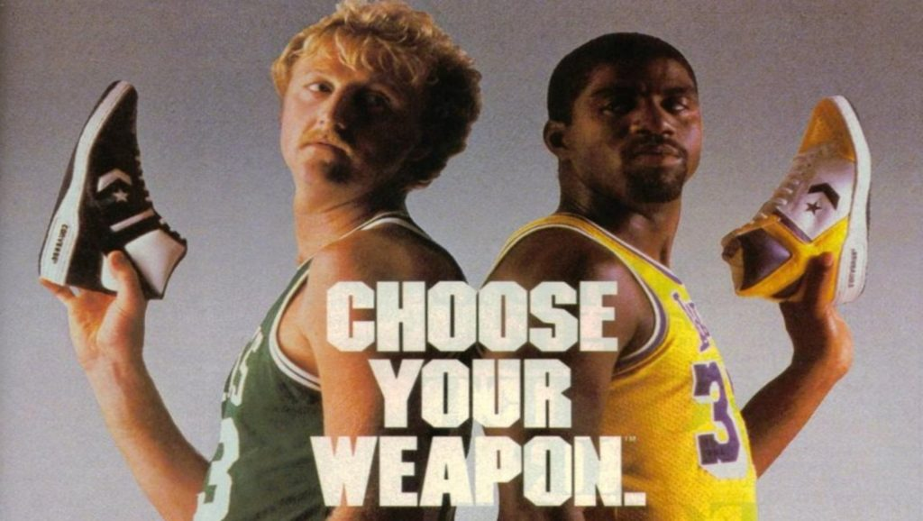 Larry Bird y Magic Johnson en anuncio para Converse