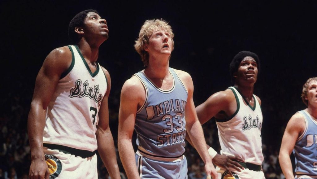 Magic Johnson y Larry Bird en la NCAA
