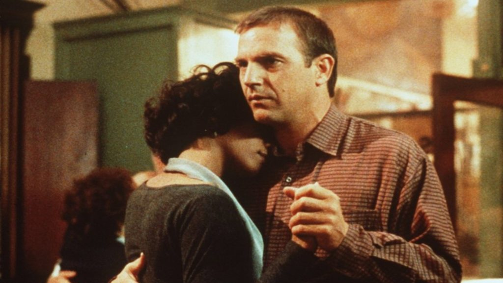 "Whitney Houston y Kevin Costner en ""El guardaespaldas"""