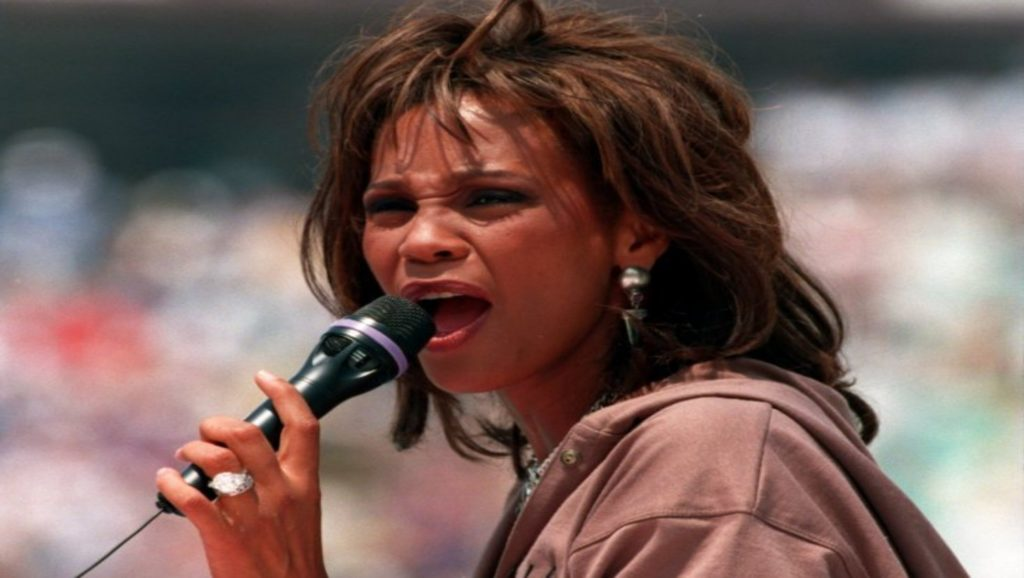 Whitney Houston en la ceremonia de clausura del mundial de fútbol de 1994