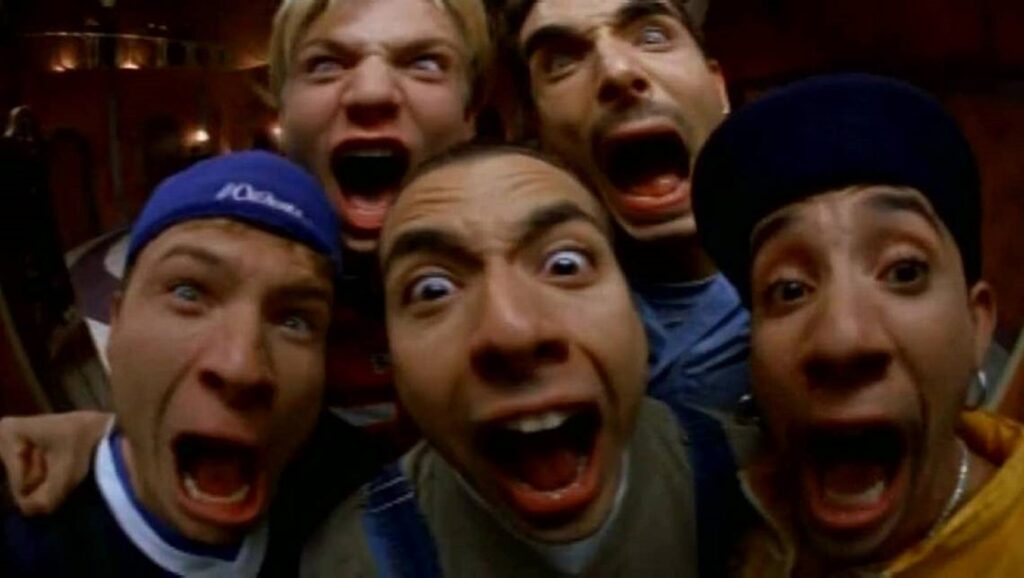 "Backstreet Boys gritando en el video ""Everybody"""