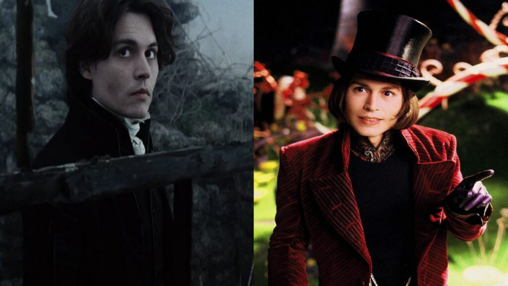 "Johnny Depp en ""Sleepy Hollow"" y en ""Charlie y la fábrica de chocolate"""