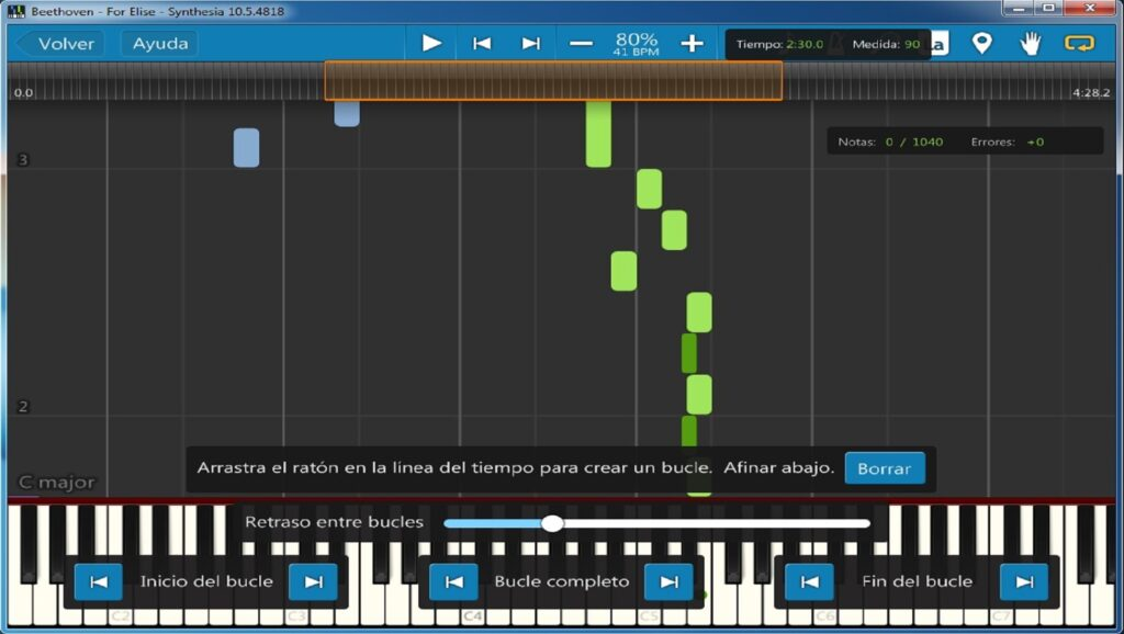 Tutorial de Synthesia: bucles